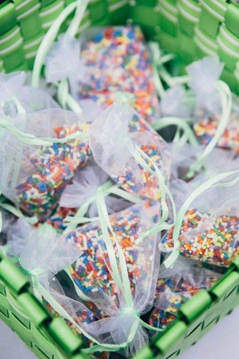 edible confetti is always a good idea - it's super biodegradable, colorful and fun