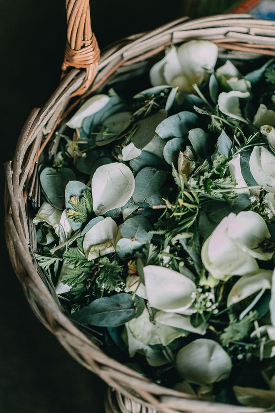 greenery, white petals is amazing instead of confetti for spring and summer weddings, gather them yourself
