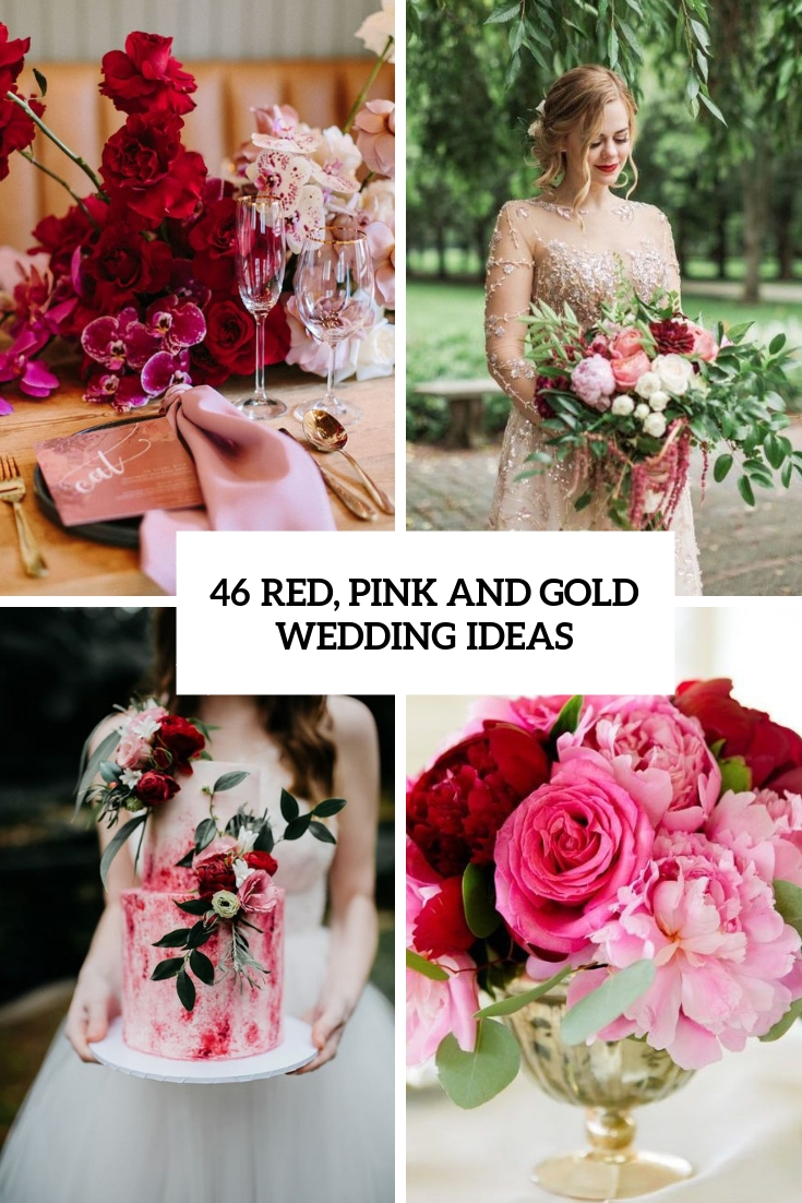 red, pink and gold wedding ideas cover