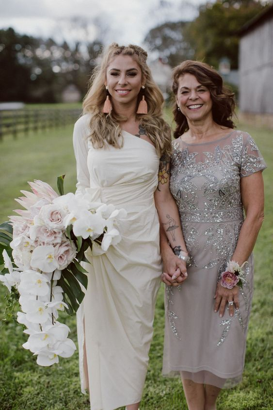 a grey embellished midi dress with an illusion neckline and short sleeves is a glam and chic idea to rock