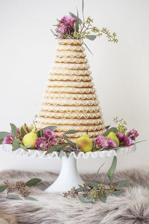 a kransekake wedding cake is traditional for Iceland and Norway and looks really unique