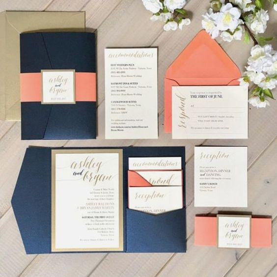 a stylish coral, navy and white wedding invitation suite with gold frames is a fantastic idea