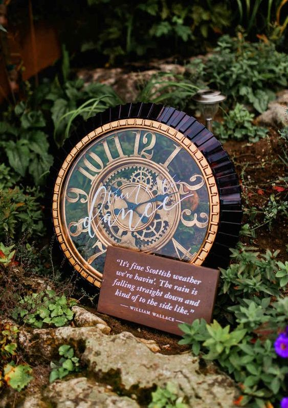 a whimsical and catchy clock with a fun quote is a cool decoration for a quirky wedding