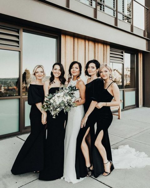 gorgeous and super elegant mismatched black velvet bridesmaid dresses with slits