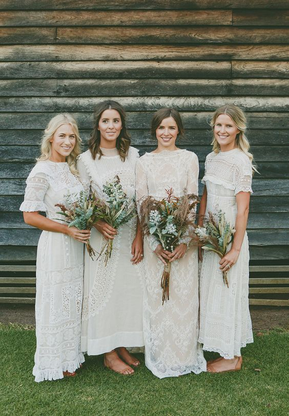 gorgeous white lace mismatched boho bridesmaid dresses with various designs for a spring or summer boho wedding