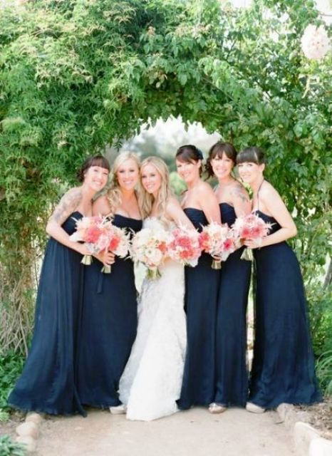 maxi navy spaghetti strap dresses for bridesmaids and coral bouquets with ivory ones