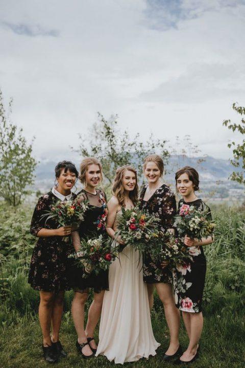 mismatched black floral knee dresses for a bit of edge at your boho chic wedding