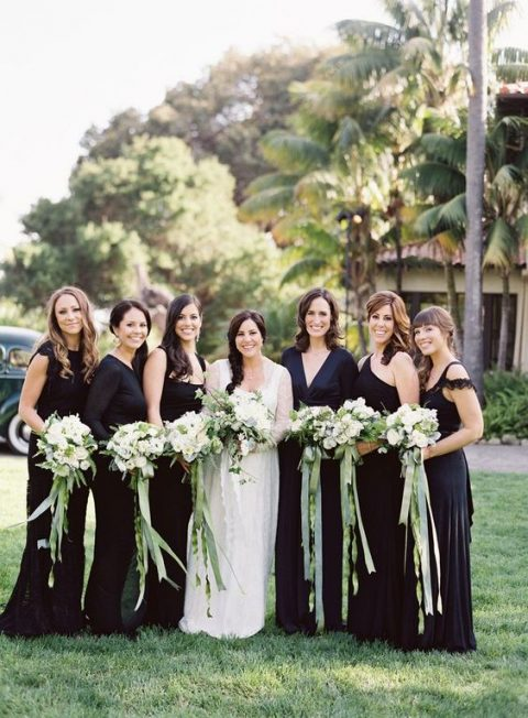 mismatched black maxi bridesmaid dresses will match many wedding styles and will be loved by most of girls