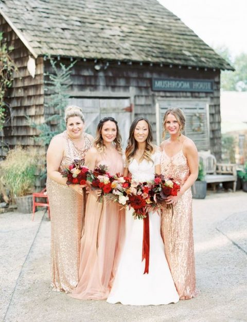 mismatched gold sequin bridesmaid gowns and a blush maxi dress for the maid of honor