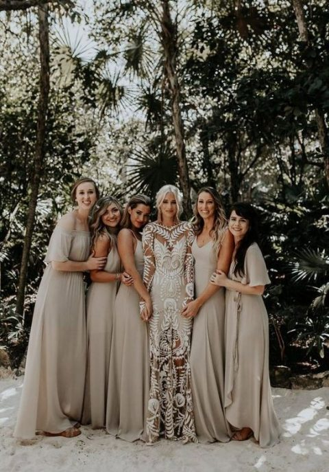 mismatched off white maxi bridesmaid dresses will help your gals avoid overheatign thanks to the color