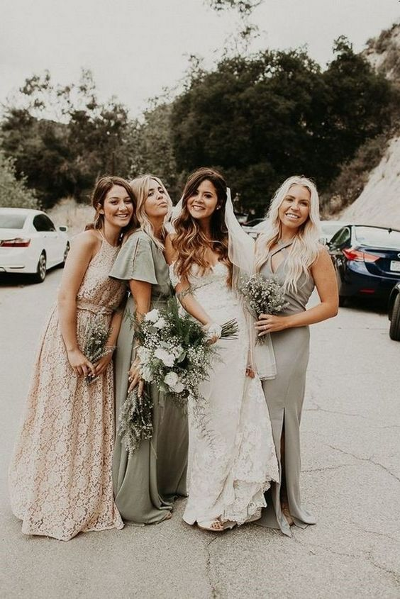 mismatched olive green and blush bridesmaid dresses with ruffles, lace and slits for a spring or summer wedding