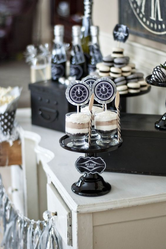 wedding trifles with black and white clock toppers look cool, bright and fun for a NYE wedding