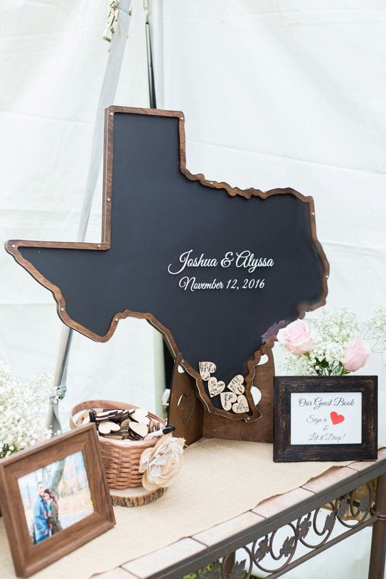 a chalkboard map of your state filled with wooden hearts or circles on which your guests will write wishes