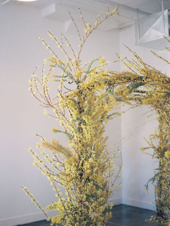 a lush yellow wedding arch with lots of blooming branches that form a dimensional look