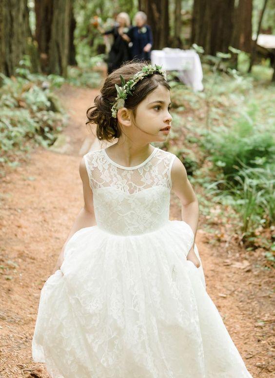 a sleeveless boho lace a-line midi dress and a greenery crown for a woodland boho wedding