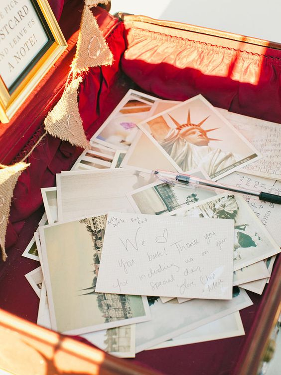 a vintage suitcase filled with cards from various countries is a very cool idea for a travel themed wedding