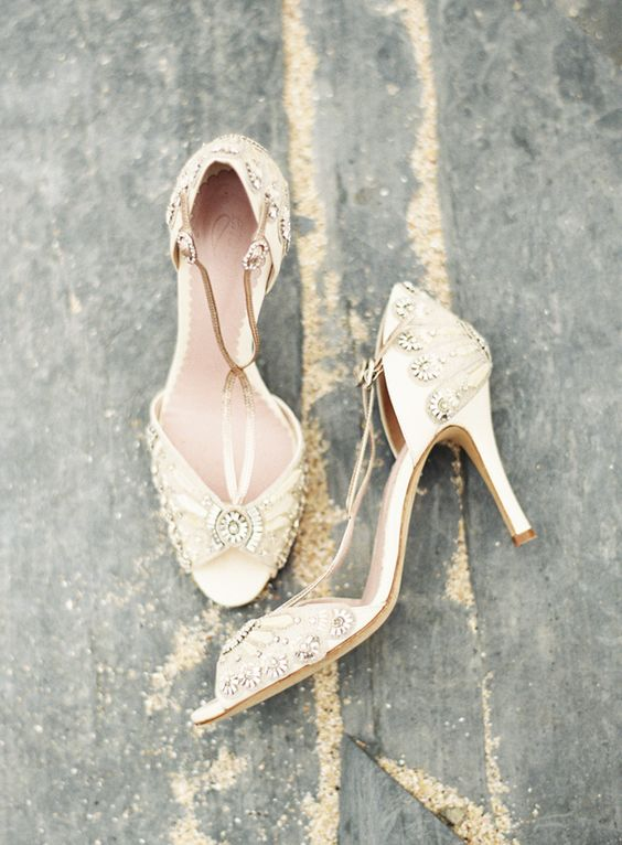 chic gold embellished wedding shoes with metallic straps and peep toes look very shiny and very glam