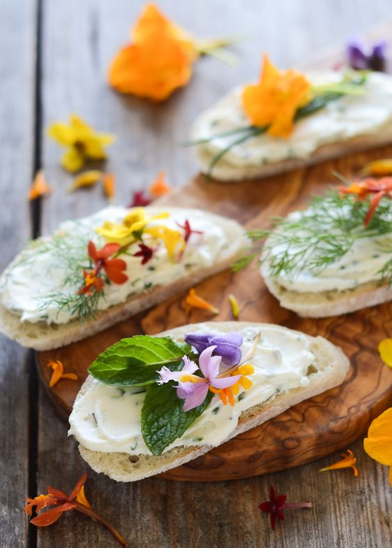 cream cheese and chive sandwiches are a creative wedding appetizer idea for a spring or summer celebration