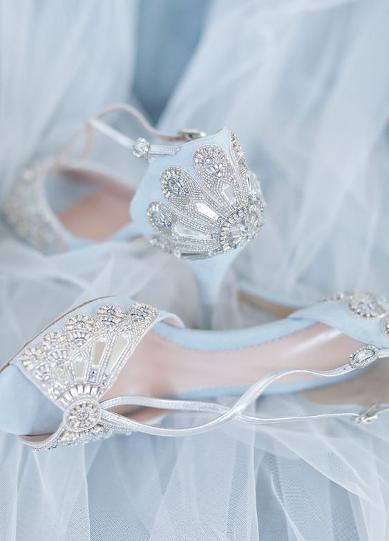 gorgeous blue peep toe wedding shoes with heavy embellishments and metallic straps for your 'something blue'
