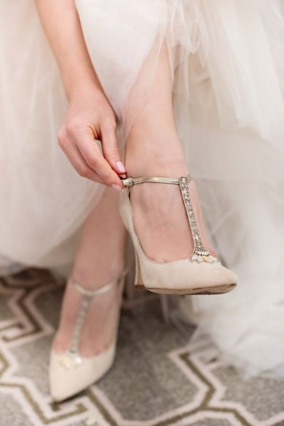gorgeous tan T strap wedding shoes with heavy embellishments for a cool look and timeless elegance