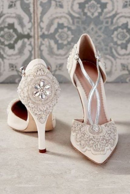 ivory vintage embellished wedding shoes with metallic straps look refined and very glam-like