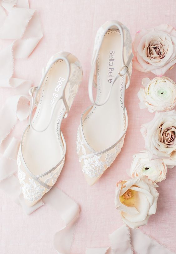 refined sheer wedding shoes with floral appliques will give a delicate touch to your look