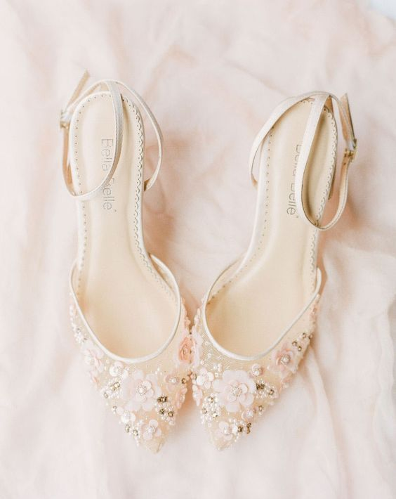 romantic sheer wedding shoes with beading and floral appliques and ankle straps for a delicate touch