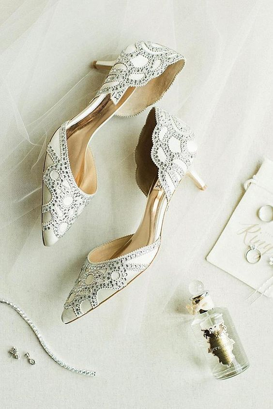 super refined embellished wedding shoes in neutrals and with kitten heels are shiny and very elegant