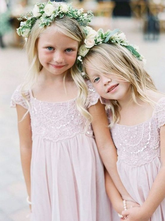 sweet blush embellished flower girl dresses with cap sleeves and square necklines are just adorable