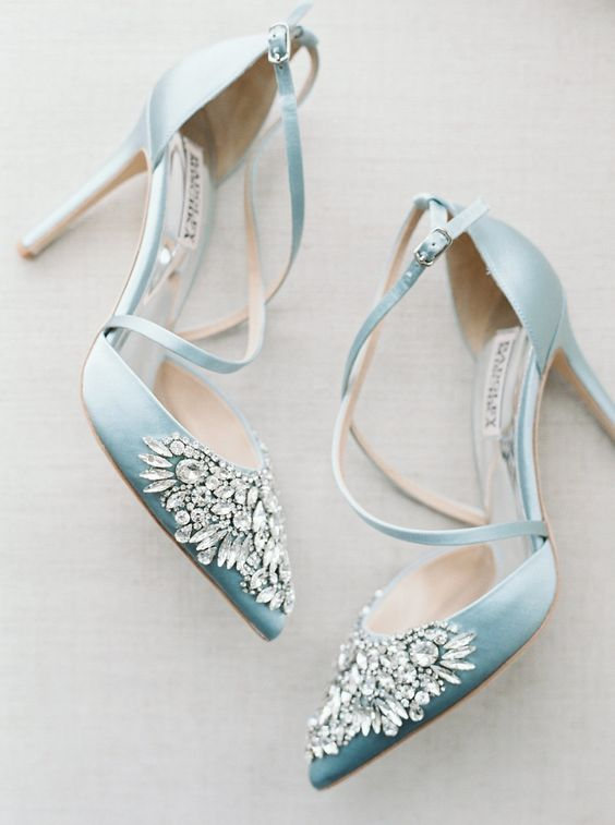 vintage blue heavily embellished wedding shoes with thin straps for your refined 'something blue'