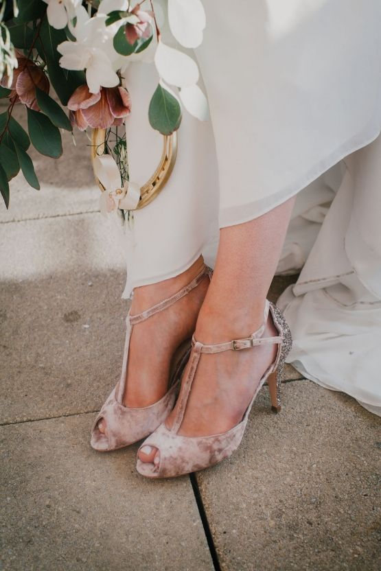 vintage glam wedding shoes in blush velvet with glitter backs and T-straps look very stylish and chic