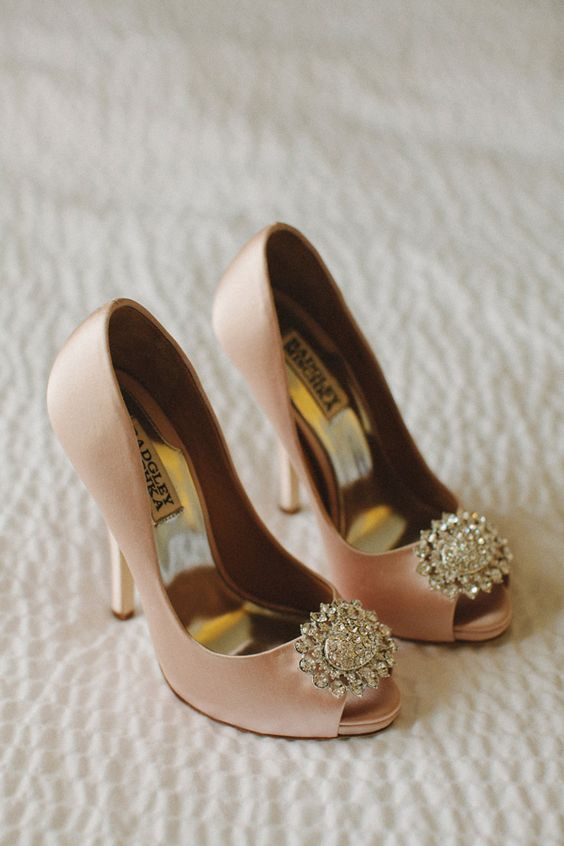 vintage inspired peachy pink peep toe shoes with large embellishments for a romantic and soft touch