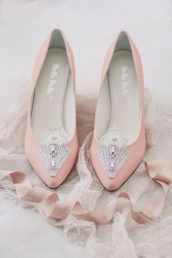vintage-inspired pink wedding shoes with large art deco embellishments in silver look wow and glam