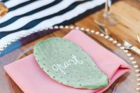 a cactus seating card is a stylish idea for a desert, boho or Italian wedding – there are lots of cacti in the south of Italy