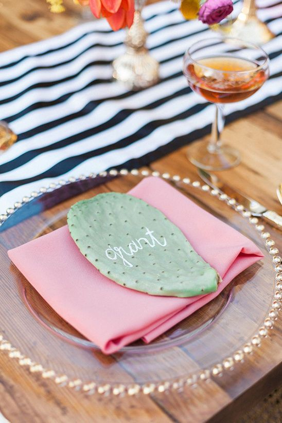 a cactus seating card is a stylish idea for a desert, boho or Italian wedding - there are lots of cacti in the south of Italy