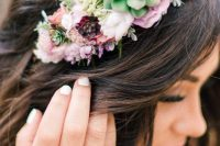 a floral and succulent headpiece is a beautiful accessory for a bride who loves nature a lot