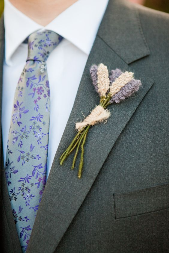 a knit lavender boutonniere is a very original way to show your partner's passion and hobby