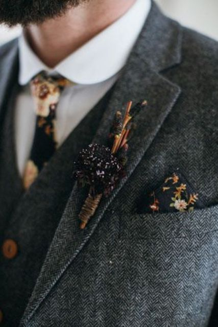 a rustic wedding boutonniere of twigs and dried blooms that matches the tie and a handkerchief looks cool and perfectly styled