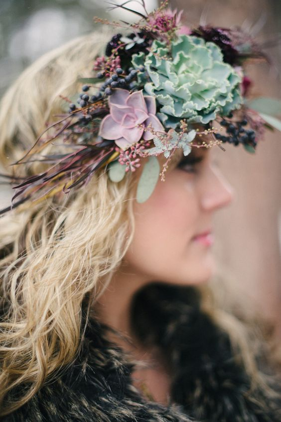 a statement bridal crown with purple and pink blooms, succulents, twigs and berries for a fall bride