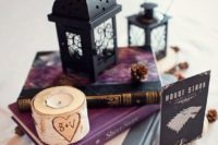 simple yet cute book centerpieces for stylish wedding