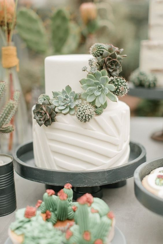 a white geometric wedding cake with succulents and cacti is a stylish idea for any modern wedding