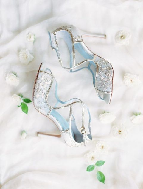 blue cut out peep toe wedding shoes with gold embroidery and lace are a very chic and feminine idea