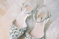 blue glitter statement embellished wedding shoes with ankle straps are a bold glam statement for a summer bride