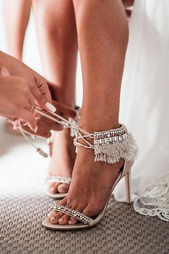 boho glam wedding heeled sandals with embellishments and shiny fringe plus lacing up