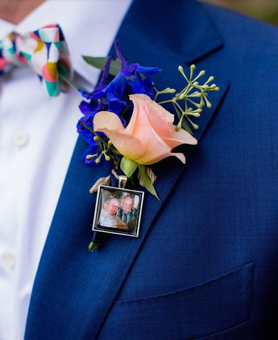 bold floral boutonniere with an added photo of the family to honor them, even if they aren't present