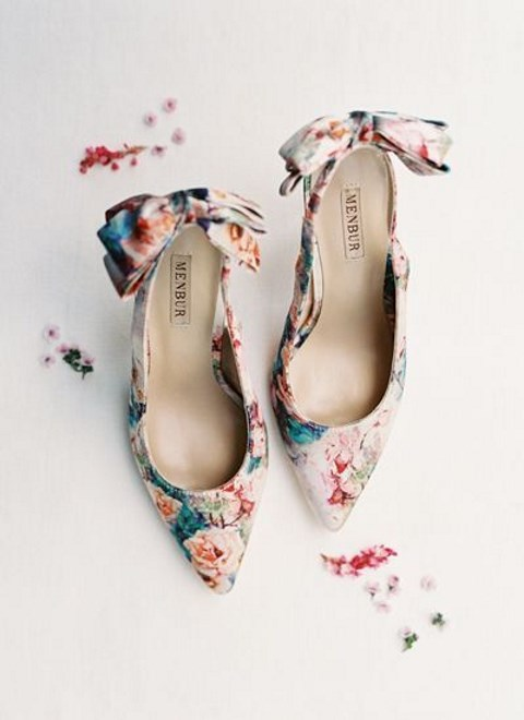 bold floral heels with large bows on the backs will finish off a floral filled or garden summer wedding