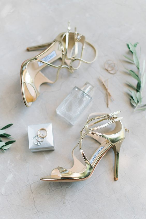 bold metallic gold strappy wedding shoes will bring glam elegance to your summer bridal look