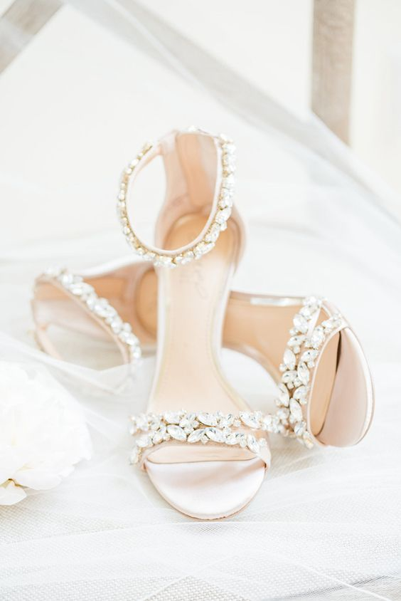 gorgeous embellished ankle strap sandals will add a touch of bling and chic to your summer bridal look
