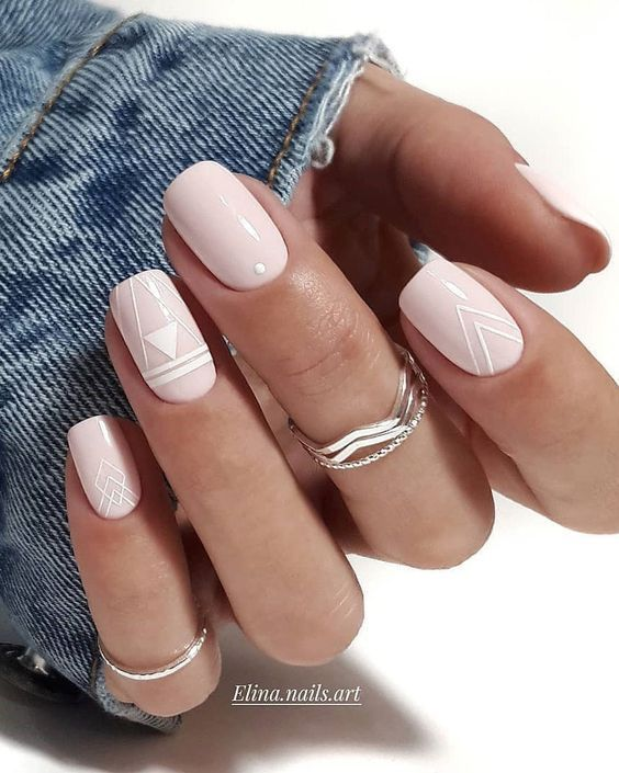 light pink wedding nails with white boho patterns are great for a boho bride, especially for a spring or summer one
