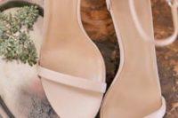 minimalist blush ankle strap flat wedding sandals will be a nice solution for a minimalist or modern summer wedding